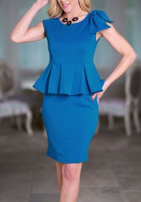 Blue Bowknot Peplum High Waisted Office Worker/Daily Elegant Party Midi Dress