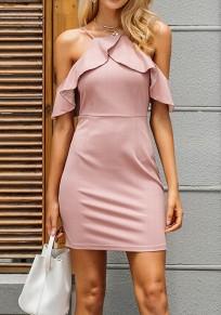 Mini robe sans manches volantées bretelle dos nu bodycon fête de retour douce rose