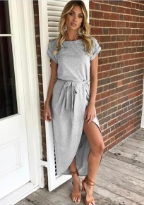 Grey Belt Round Neck Short Sleeve Fashion Midi Dress