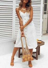 White Condole Belt Pockets Single Breasted V-neck Fashion Midi Dress