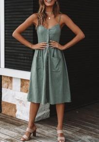 Pea Green Condole Belt Pockets Single Breasted V-neck Fashion Midi Dress