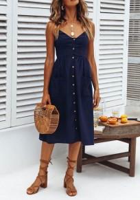 Midi-robe poches de bretelle poitrine mode v-cou bleu
