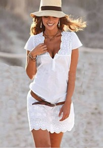 Mini abito bottoni in pizzo scollo profondo scollo av casuale country bianco