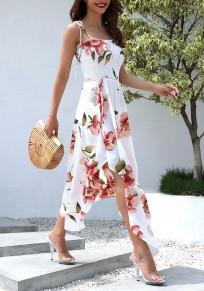 Weiß Blumen Condole Gürtel Unregelmäßige Strassenmode Maxi-Kleid