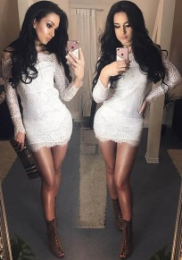 White Patchwork Lace Boat Neck Long Sleeve Fashion Mini Dress