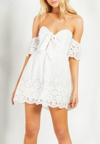 White Cut Out Lace Ribbons V-neck Short Sleeve Mini Dress
