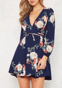 Navy Blue Floral Sashes Cut Out Ruffle V-neck Mini Dress