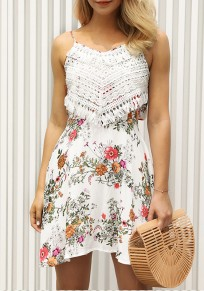 White Floral Tie Back Cut Out Round Neck Mini Dress