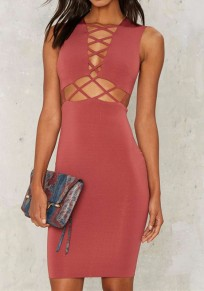 Red Cross Cut Out Zipper Fashion Mini Dress