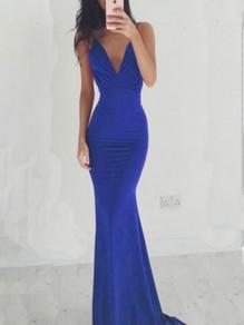 Blue Draped Spaghetti Strap Backless Bodycon V-neck Party Maxi Dress
