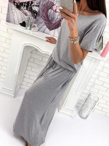 Grey Drawstring Lace-up Round Neck Casual Going out Maxi Dress