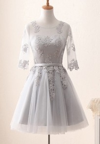 Mini robe grenade drapé dentelle tutu banquet demoiselle d'honneur parattacher élégante gris