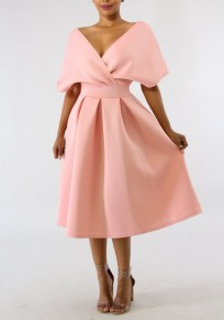 Pink Pleated Off Shoulder Backless High Waisted Banquet Formal Party Midi Dress