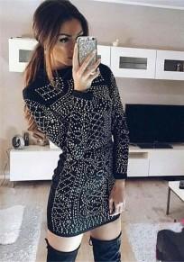Black Patchwork Zipper Rhinestone Round Neck Fashion Mini Dress
