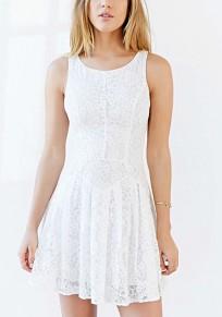 White Patchwork Lace Pleated Round Neck Sleeveless Elegant Mini Dress