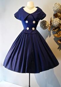 Navy Blue Patchwork Buttons Pleated Turndown Collar Short Sleeve Elegant Midi Dress
