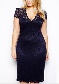 Mi-longue robe en dentelle grande taille v-cou manches courtes slim élégant de soirée bleu nuit