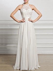 White Draped Cut Out Lace Halter Neck Banquet Bridesmaid Elegant Party Maxi Dress