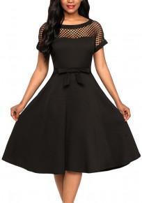 Midi-robe découpess noeud-papillon drapé banquet trapèze élégante soirée noir