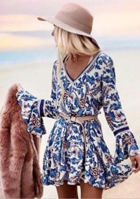 Blue Tribal Floral Print Lace Flare Sleeve Deep V-neck Vintage Boho Mini Dress