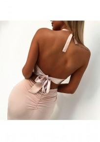 Pink Patchwork Sequin 2-in-1 Tie Back Round Neck Fashion Midi Dress