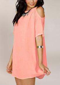 Mini-robe en mousseline épaules fendues manches courtes mode été rose