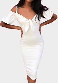White Bow Spaghetti Strap Bodycon Puff Sleeve V-neck Party Midi Dress