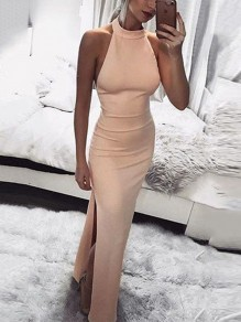 Pink Side Slit Bodycon Halter Neck Banquet Elegant Party Maxi Dress