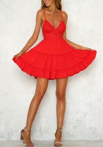 Red Lace Spaghetti Strap Backless Deep V-neck High Waisted Cute Party Mini Dress