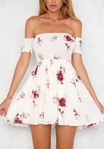 White Floral Ruffle Boat Neck Short Sleeve Fashion Mini Dress