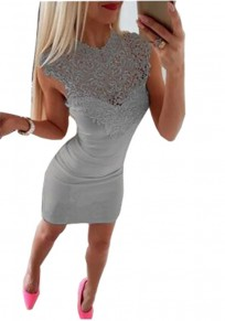 Grey Patchwork Lace Cut Out Round Neck Fashion Mini Dress