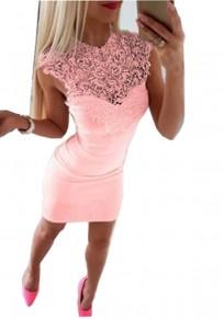 Rosa Flickwerk Spitze ausgeschnitten Rundhals Mode Minikleid