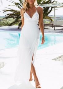 Weiße Spitze Seitenschlitz Spaghettiträger V-Ausschnitt Rückenschnürung Rückenfrei Boho Sommer Maxi Kleider Strandkleider