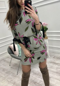 Green Floral Ribbons Bow Round Neck Fashion Mini Dress