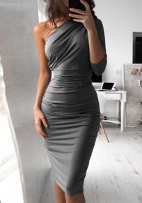 Vestido midi fajines asimétricos manga larga casuales gris
