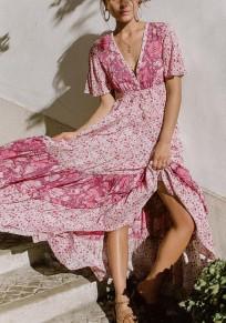 Pink Floral Draped Drawstring Flowy Deep V-neck Bohemian Party Maxi Dress