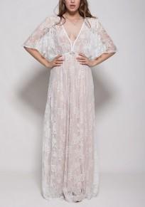 White Floral Lace Draped Backless V-neck Sheer Party Elegant Maxi Dress