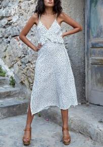 White Polka Dot Ruffle Slit Spaghetti Strap V-neck Flowy Beach Bohemian Maxi Dress