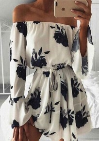 Black Floral Draped Drawstring Boat Neck Fashion Mini Dress