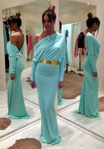 Light Blue Plain Asymmetric Shoulder Long Sleeve Fashion Maxi Dress