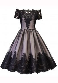 Black Patchwork Lace Grenadine Draped Boat Neck Short Sleeve Midi Dress