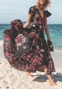 Vestido largo floral cordón hendidura fluida profundo escote en V talle alto boho mexicano negro