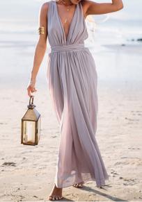 Grey Draped Sashes Ruched Flowy Deep V-neck High Waisted Boho Beach Party Maxi Dress
