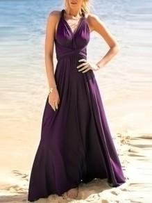 Robe maxi écharpes drapées fête bohème multicolore violet