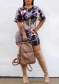 Blue Tie Dye Lace-up Belt Bodycon Round Neck Short Sleeve Fashion T-shirt Mini Dress