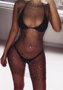 Black Mosaic Rhinestone Cut Out Sheer Clubwear Cocktail Party Mini Dress