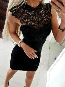 Black Patchwork Lace Cut Out Round Neck Mini Dress