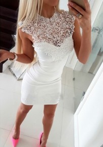 White Patchwork Lace Cut Out Round Neck Mini Dress