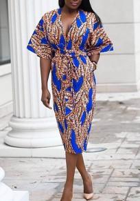 Blau Tribal Drucken Schärpen Bodycon V-Ausschnitt hoch taillierte Elegante Partei Midi-Kleid