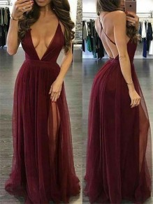 Burgundy Grenadine Slit Spaghetti Strap Flowy Deep V-neck Bridesmaid Elegant Party Maxi Dress